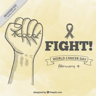 World cancer day background with hand sketch