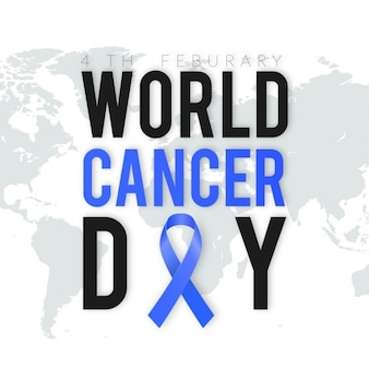World cancer day, blue and black letters