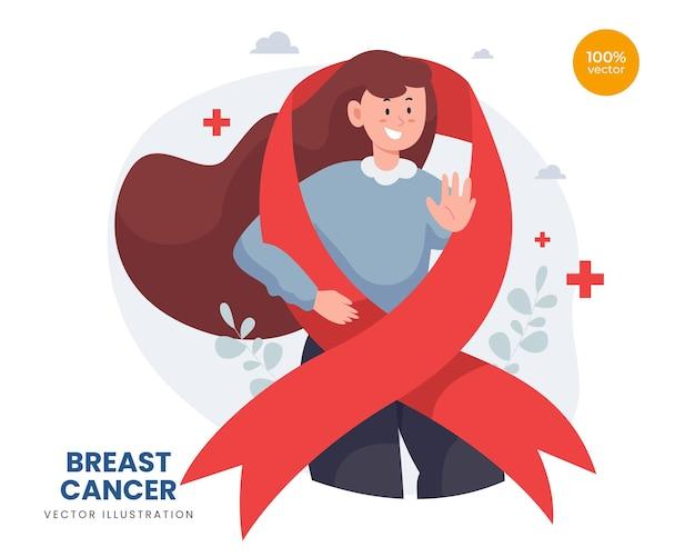 방문 페이지 템플릿에 대한 세계 암의 날 개념, 아름다운 리본과 꽃, 유방 보호를 가진 소녀 또는 여성. 프리미엄 벡터