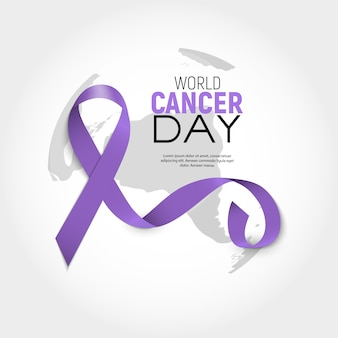 World cancer day concept with lavender ribbon. vector illustration.