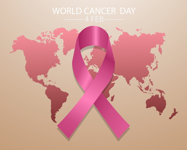 World cancer day concept with pink ribbon