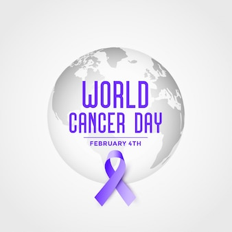 World cancer day event poster with ribbon background