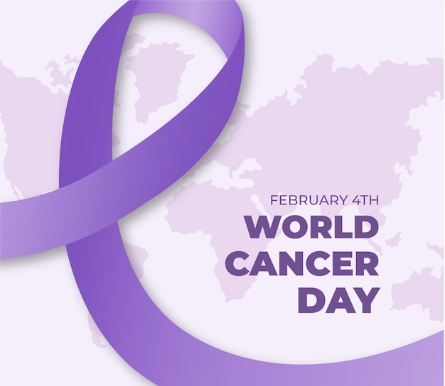 World cancer day flat design background with ribbon