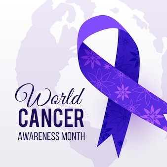 World cancer day illustration with ribbon and flowers Free Vector
