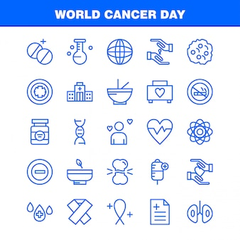 World cancer day line icons set