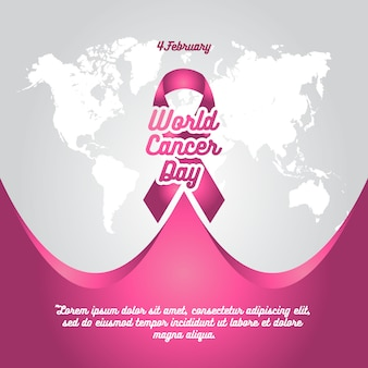 World cancer day pink ribbon background template