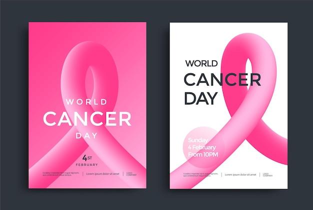 Дизайн плаката всемирного дня рака с розовой 3d-формой.