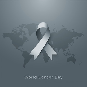 World cancer day poster in gray tone