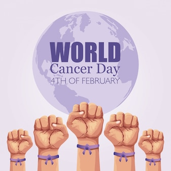 World cancer day poster with hands and ribbon