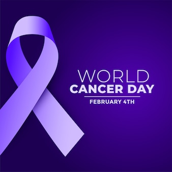 World cancer day purple realistic ribbon background