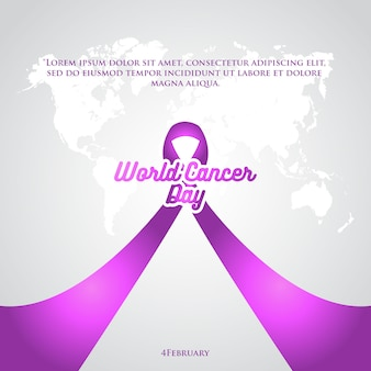 World cancer day purple ribbon poster