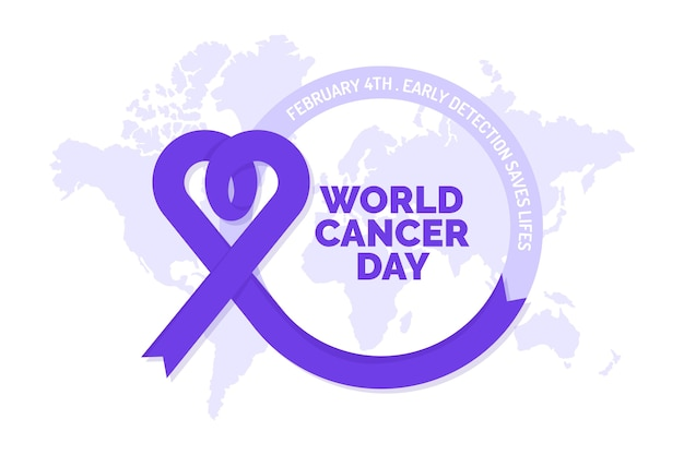 World cancer day purple ribbon on world map