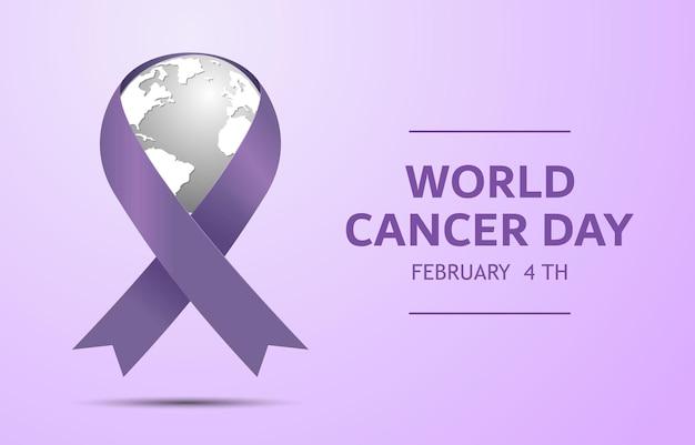 紫のリボンのシンボルと世界対がんデー
