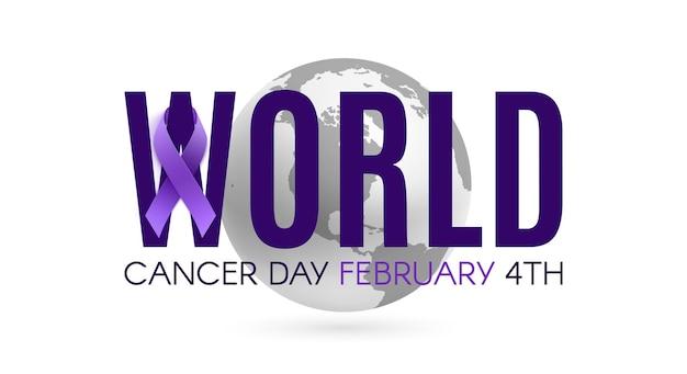 紫のリボンと地球儀で世界対がんデーの言葉遣い