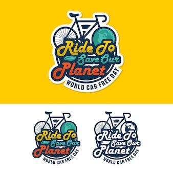 World car free day design logo