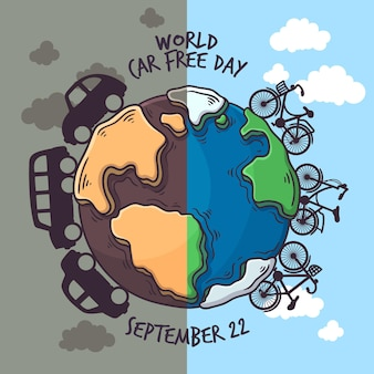 World car free day drawing