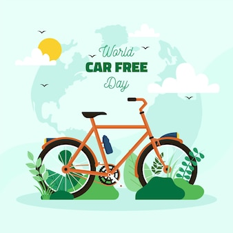 World car free day flat design background