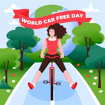 World car free day hand-drawn theme