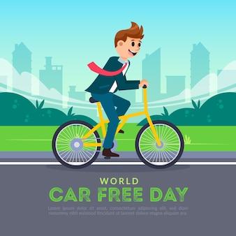 Всемирный день без автомобилей в плоском дизайне