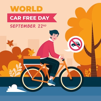 World car free day with bicycle