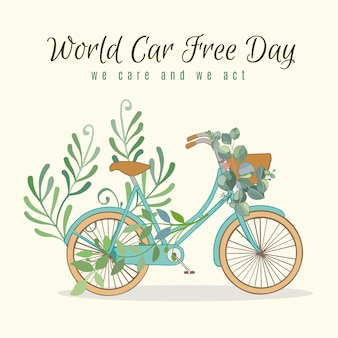 World car free day with bike and leaves