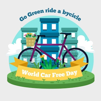World car free day with bike