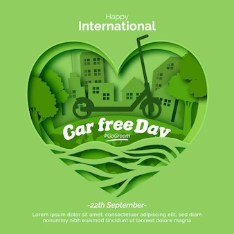World car free day with heart