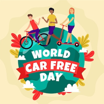 World car free day with people and earth
