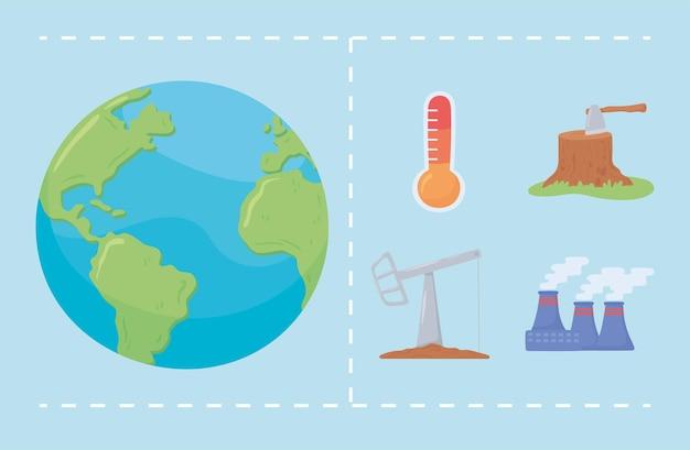 세계 변화 기후 요소 세트