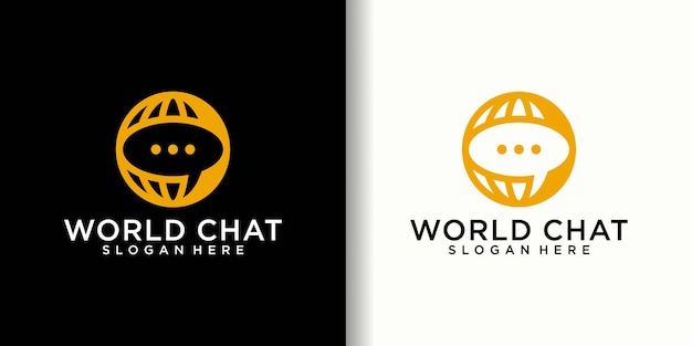 ワールドチャット接続ロゴと名刺テンプレート