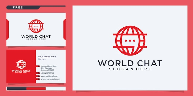 World chat connection logo and business card template
