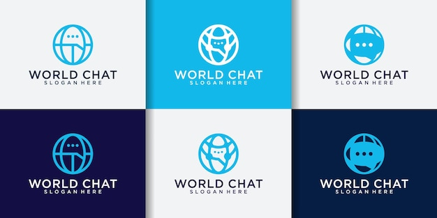 World chat connection logo set and business card template