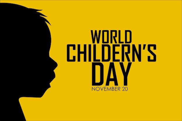黄色の背景を持つ世界の子供たちの日11月20日
