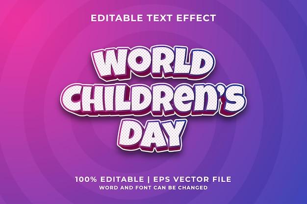 World children's day 3d editable text effect premium vector