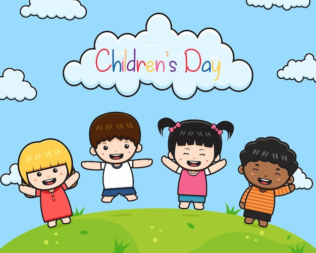 World children's day celebration background banner card cartoon illustration flat cartoon style design