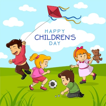 World children's day celebration flat design