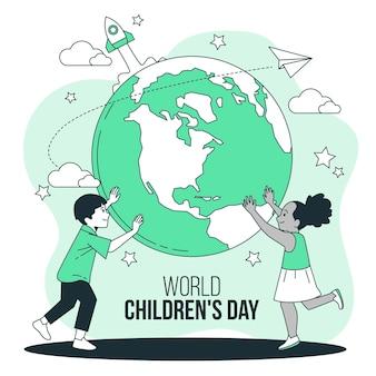 Illustrazione di concetto di giornata mondiale dei bambini