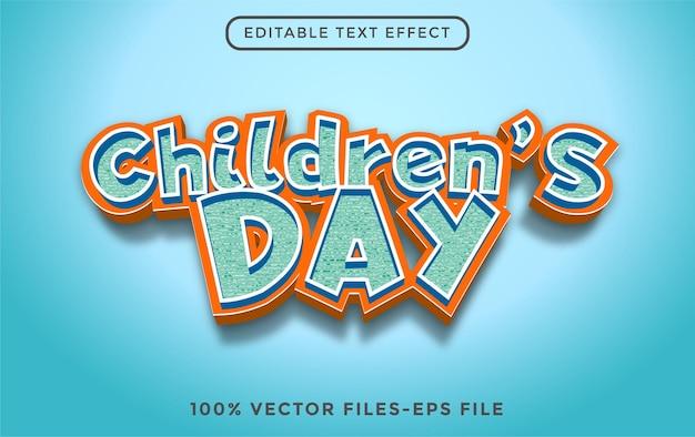 Всемирный день защиты детей 3d редактируемый текстовый эффект premium векторы