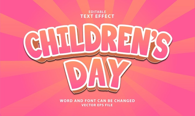 World childrens day 3d editable text effect