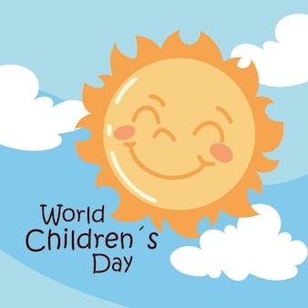World childrens day cute sun