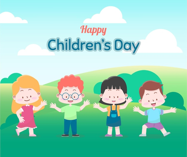 World childrens day greeting card with happy childrens in the forest