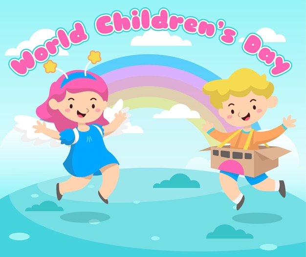 World childrens day greeting card with happy childrens and rainbow
