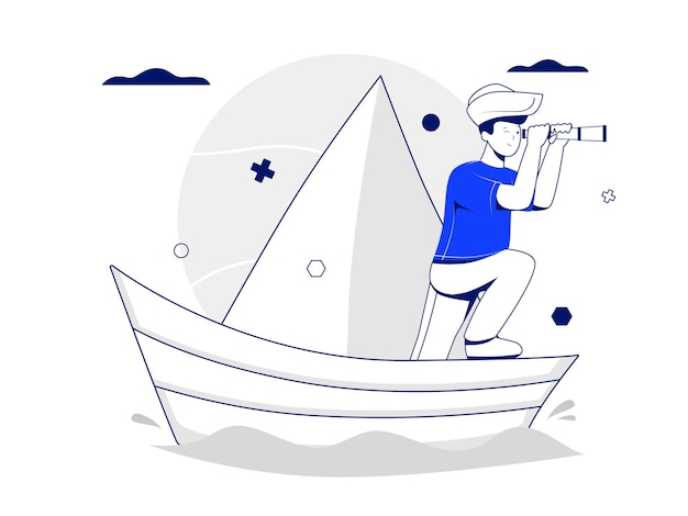 World childrens day vector illustration concept with a boy character using binoculars on his boat like a captain