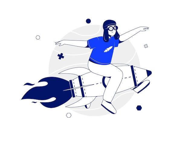 World childrens day vector illustration concept with a boy character wearing a head covering like a pilot and riding a rocket