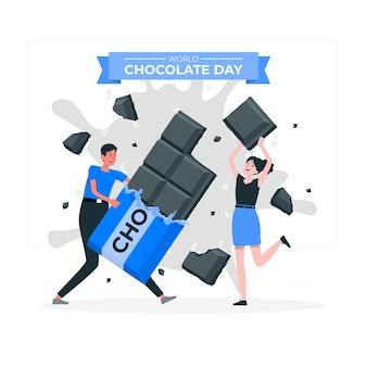 世界のチョコレートの日のコンセプトイラスト