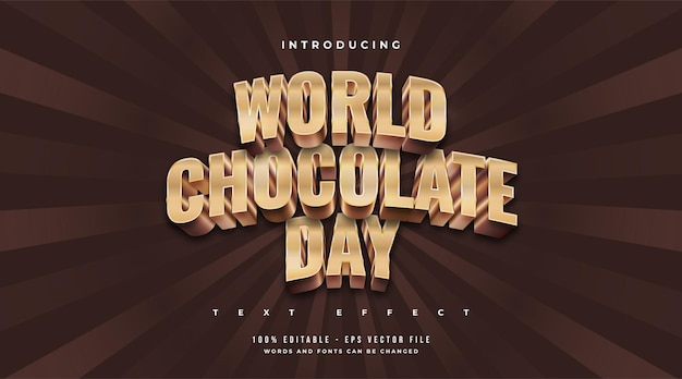 World chocolate day text in gold and chocolate with embossed effect
