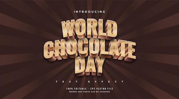 엠보싱 효과가있는 골드와 초콜릿의 세계 초콜릿 데이 텍스트