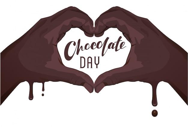 世界チョコレートデーテキストレタリングテンプレートグリーティングカード。手のひら手シンボルハート愛チョコレート