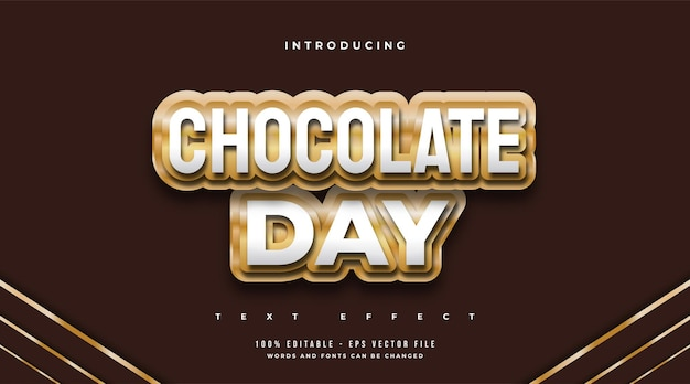 World chocolate day text style in chocolate effect