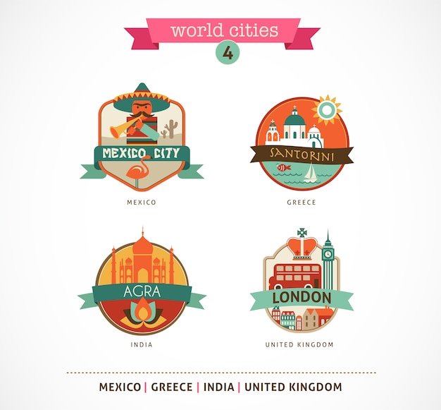 World cities badges - santorini, london, agra, mexico
